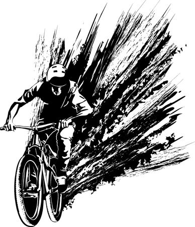 cyclist - black and white vector illustration