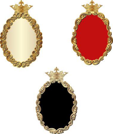 set of golden frames with crowns