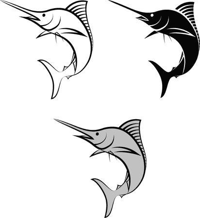 marlin - clip art illustration and line art