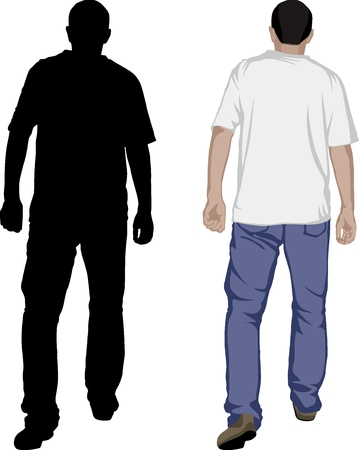 Rear view of a men walking away - vector illustration