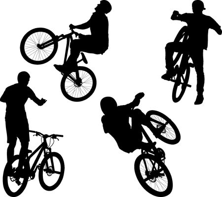 silhouette of male doing bike trick Banco de Imagens - 123274289