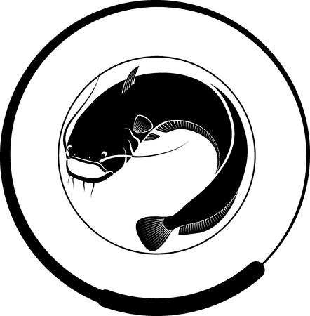 badge de pêche avec poisson-chat et canne à pêche Vecteurs