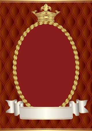 vintage background with crown and decorative border Illusztráció