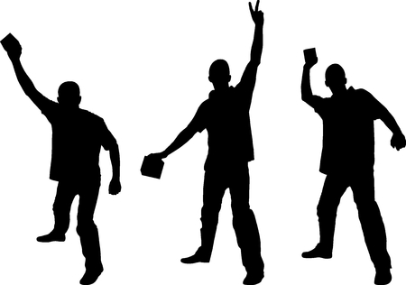 silhouettes male threwing brick Illustration
