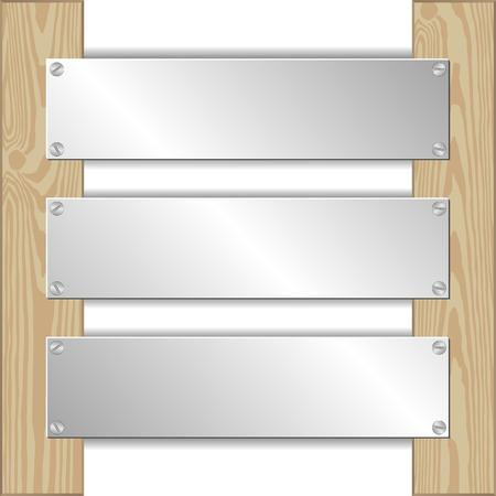 three metal plaques nailed to wooden planks