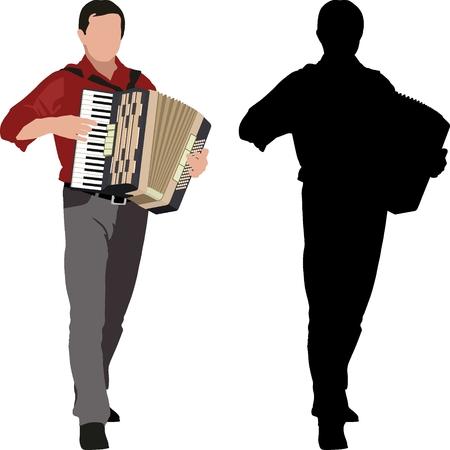 silueta, de, acordeonista, y, clip art, ilustración