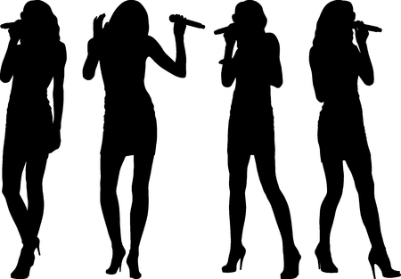 silhouettes of singer woman with microphone