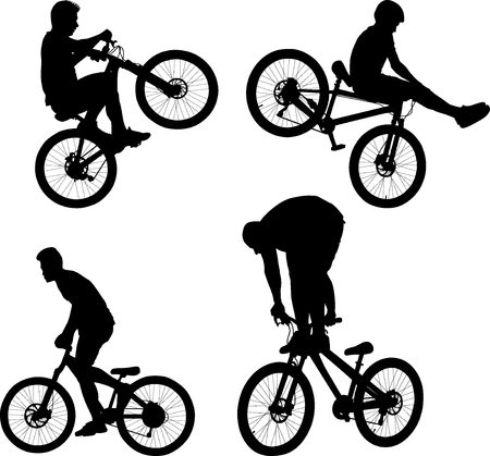 silhouette of cyclist doing bike trick  Иллюстрация
