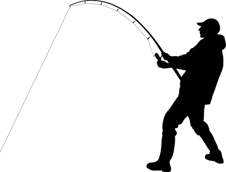 Silhouette of angler with fishing rod