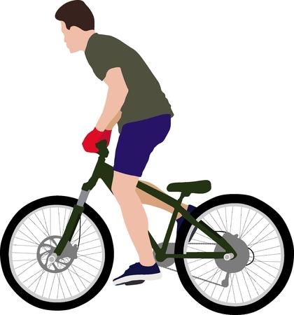 Isolated male doing bike trick
