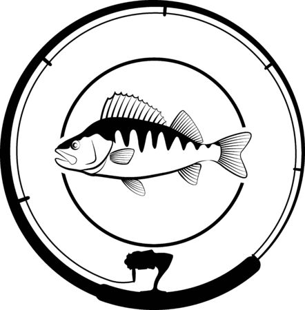 Fishing badge with perch fish and fishing rod