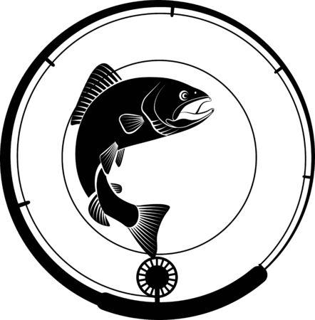 Angelabzeichen mit Fisch und Angelrute Vektorgrafik