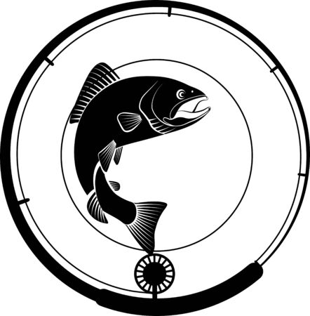 fishing badge with fish and fishing rod
