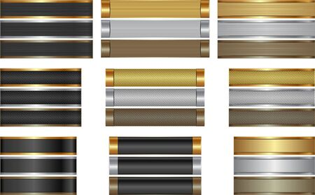 set of long textured banners golden, silver and brown Illusztráció