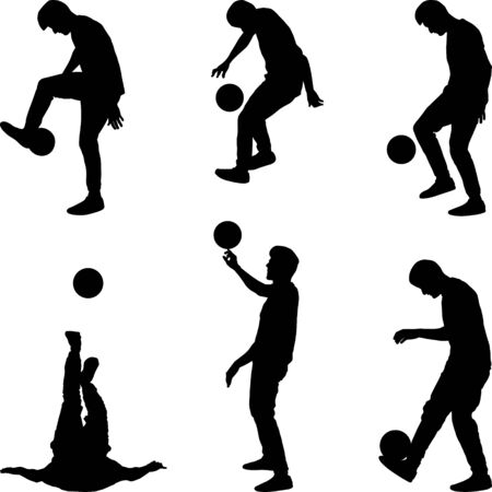 male juggling the ball silhouette