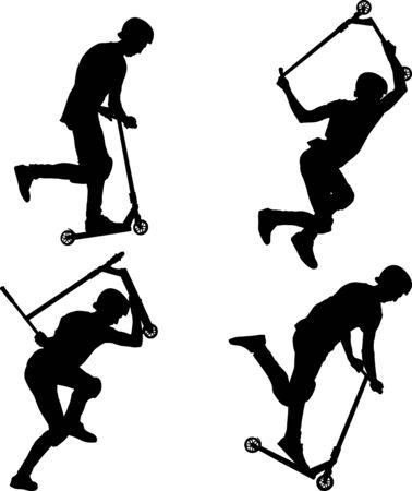 male on stunt scooters doing trick Vektoros illusztráció
