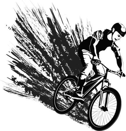 black and white vecor illustration cyclist