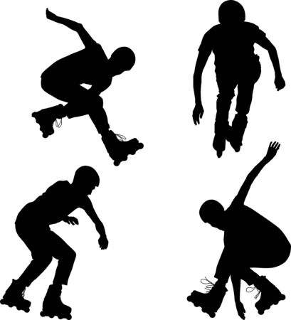 Inline roller skater silhouettes
