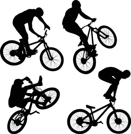 silhouette of cyclist doing bike trick Фото со стока - 129949719