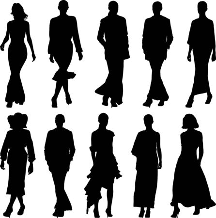 set of silhouettes of walking woman Vector Illustration