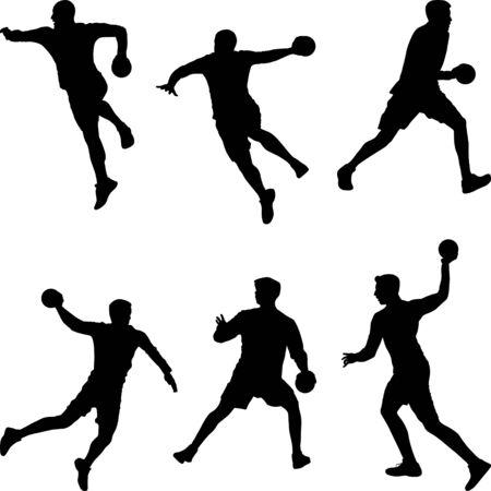 Handball player throwing the ball, set of silhouettes