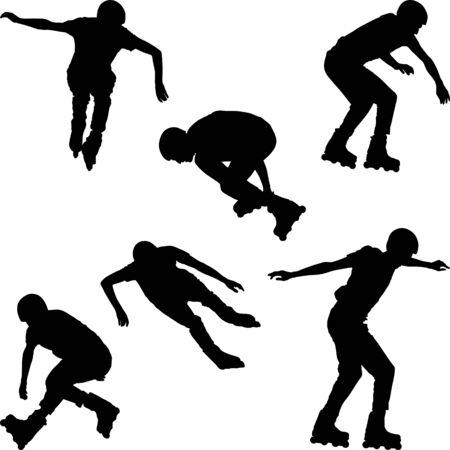 Siluetas de patinador en línea Ilustración de vector