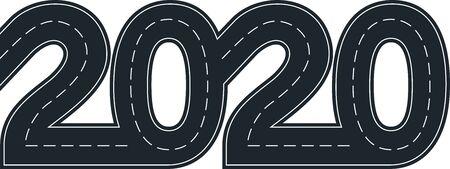 numbers of 2020 year in shape road  Ilustração