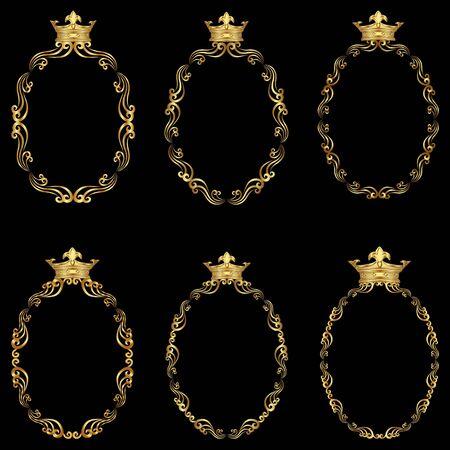 set of golden frames with royal crown