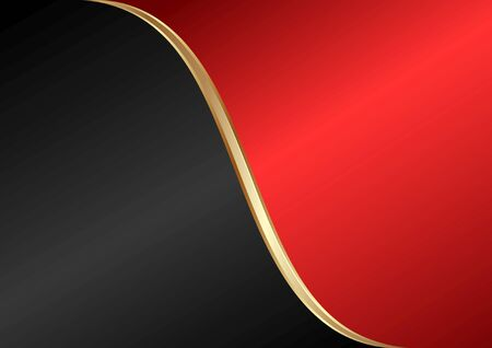 black and red abstract background divided into two with golden divider  Çizim