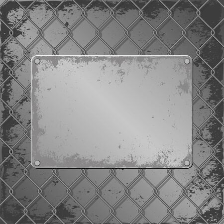 grunge metall plaque on wire mesh background