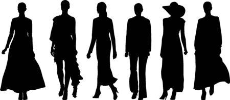 set of walking woman silhouettes