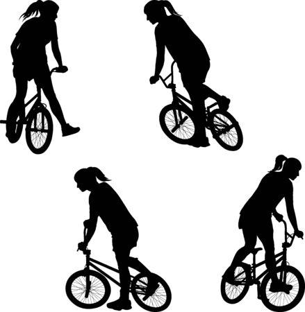 silhouette of girl doing bike trick on BMX bicycle 일러스트