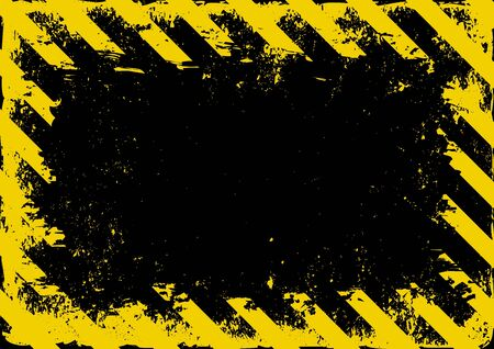 grunge danger background with yellow black stripes