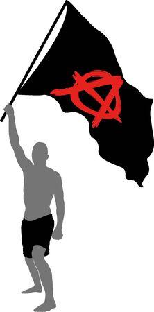 man with anarchist symbol on black flag