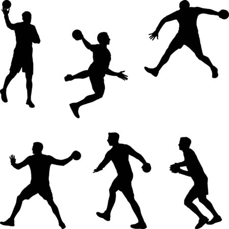 handball player throwing the ball, set of silhouettes Vettoriali