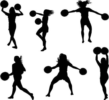 set of cheerleaders silhouettes