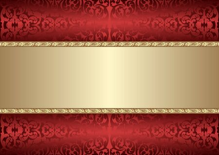 decorative background with old-fashined pattern and golden frame