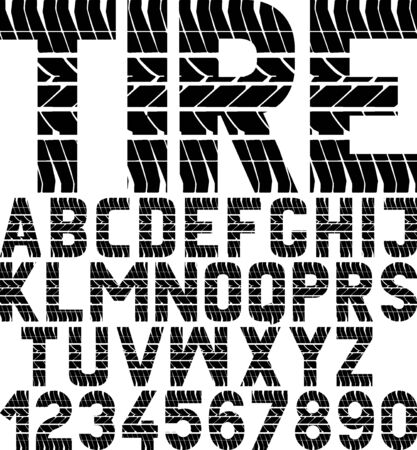 font with tyre tread texture and word