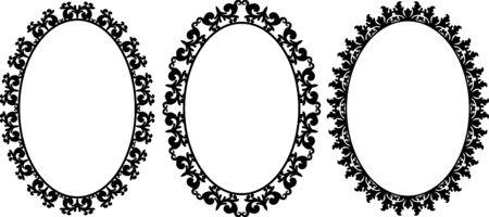 set of decorative oval frames Vetores