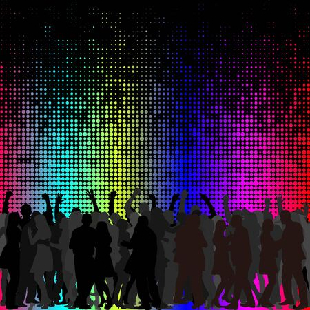 colorful background with dancing crowd