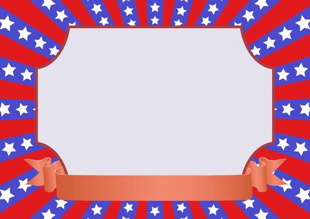 red blue background with stars and decorative frame