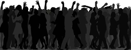 dancing crowd silhouette Çizim