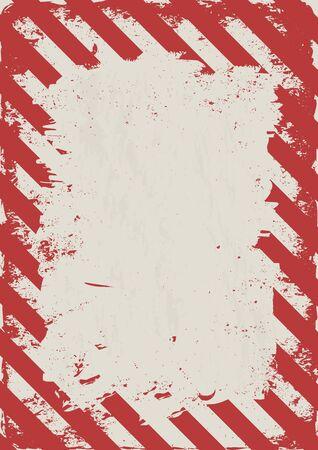 Fondo de peligro grunge, rayas rojas blancas desgastadas