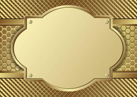 golden textured background with metal plaque