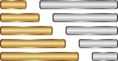 set of golden and silver textured long banners