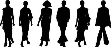 walking woman silhouettes - vector illustration