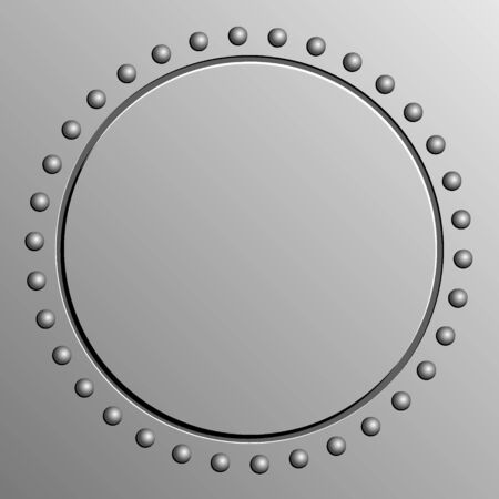 metal background with round banner and rivets