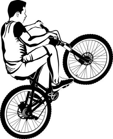 boy on MTB bike - black and white vector illustration