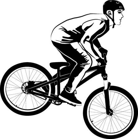 male on MTB bike - black and white vector illustration Ilustração