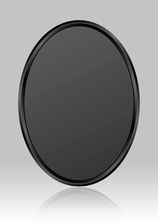 black oval plate on gray glossy background